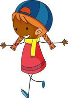 Happy girl doodle cartoon character isolated vector