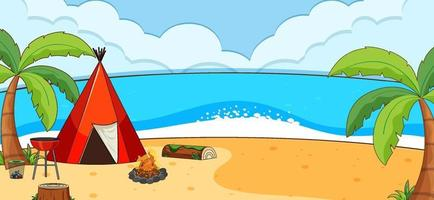 Beach outdoor scene with a camping tent along the beach vector