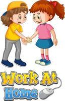 El personaje de dibujos animados de dos niños no mantiene la distancia social con la fuente del trabajo en casa aislada sobre fondo blanco vector