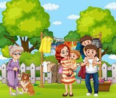 escena al aire libre con familia feliz vector