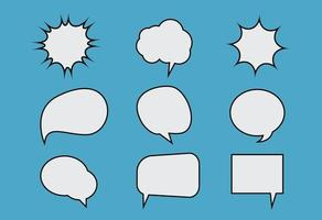 Comic chat bubbles set, cartoon style vector