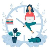 Happy woman sitting on the clock arrows and working on her laptop vector