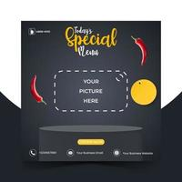Food or culinary social media marketing template with podium vector
