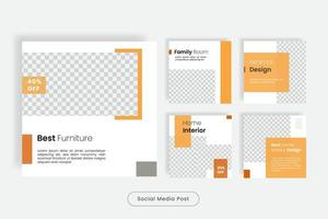 Home furniture social media post template banner vector