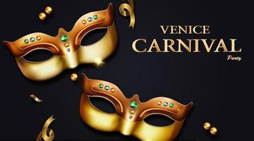 venice carnival banner with golden luxurious mask and streamers vector