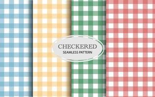 Set of green, yellow, red and blue vector seamless checkered pattern. Gingham pattern set. Vector background, rustic tablecloth, traditional checkered texture.