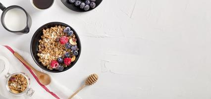 Top view bowl with homemade granola photo