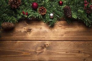 Top view Christmas decorations with copy space photo