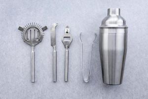accesorios de metal de cóctel de vista superior foto