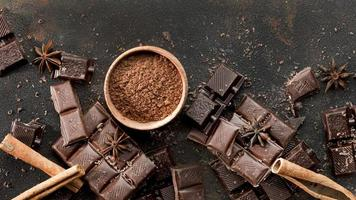 Top view delicious chocolate concept photo