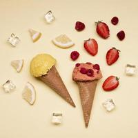 Top view delicious ice cream with strawberries photo