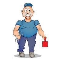 Mechanic Cartoon Illustration vector