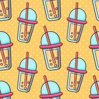 bubble tea seamless pattern illustration vector