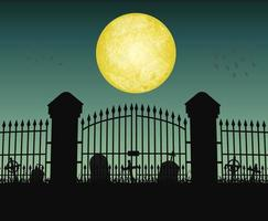 silhouette cemetery graveyard gate with moon night vector