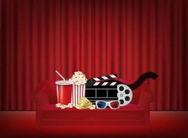 popcorn, drink, 3d glass, film on a Red on the sofa with red curtain background vector