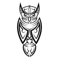 Black and white line art of owl. Good use for symbol, mascot, icon, avatar, tattoo, T Shirt design, logo or any design you want. vector