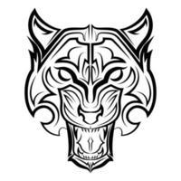 arte lineal en blanco y negro de la cabeza del tigre. Buen uso de símbolo, mascota, icono, avatar, tatuaje, diseño de camiseta, logotipo o cualquier diseño que desee. vector