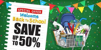 back to school sale promotion poster with shopping cart vector