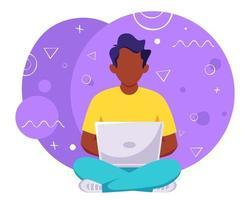 Black man working on laptop. Freelance, online studying, remote work. Vector illustration