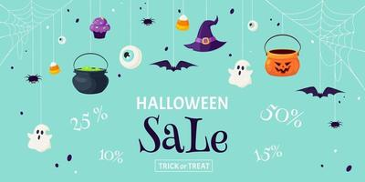 Halloween sale background. Halloween discounts. Trick or Treat. Vector illustration in flat style.