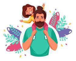 feliz Día del Padre. hombre con hija en los hombros. ilustración vectorial. vector