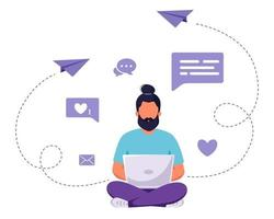 Man sitting with laptop. Freelance, online studying, remote work concept. Vector illustration