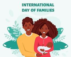Happy black family with newborn baby. International Day of families.  Afro american family. Vector illustration