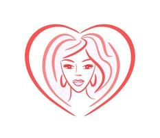 girl face - vector logo in the shape of a heart. portrait of a young beautiful woman for a beauty salon, beauty industry. hairstyle, makeup, cosmetology