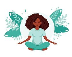 Black woman meditating. Healthy lifestyle, yoga, meditation, relax, recreation. Vector illustration.