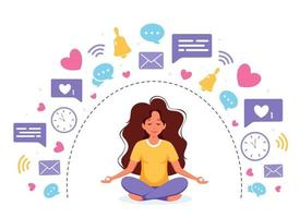 Information detox and meditation. Woman meditating in lotus pose. Digital detox concept. Vector illustration.