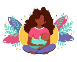 Breastfeeding concept. Black woman feeding a baby with breast on leaves background. Vector illustration in flat style.