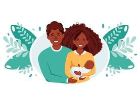 Happy black family with newborn baby. Afro american family. Vector illustration
