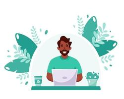 Black man working on laptop. Freelance, online studying, remote work concept. Home office. Vector illustration in flat style.