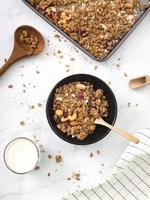 Top view homemade granola on table photo