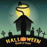 halloween japanese long neck ghost in graveyard vector