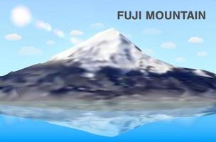 fuji mountain reflex on water vector