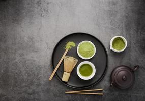 Top view matcha tea essentials photo