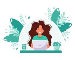Woman working on laptop. Freelance, online studying, remote work concept. Home office. Vector illustration in flat style.