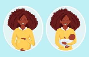 Pregnant black woman. Afro american woman with newborn. Pregnancy, motherhood. Vector illustration.