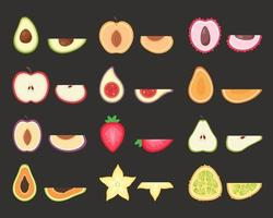 Fruits set. Tropical and exotic fruits. Vector illustration