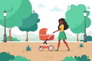 Black woman walking with baby carriage in city park. Outdoor activity. Vector illustration.