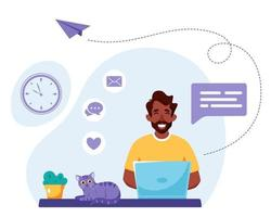Black man working on laptop. Freelance, online studying, remote work concept. Vector illustration