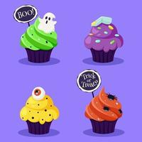 Happy Halloween. Creepy cupcakes with eye, spider, ghost. Vector illustration in flat style.