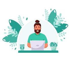 Man working on laptop. Freelance, online studying, remote work concept. Home office. Vector illustration in flat style.
