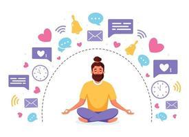 Information detox and meditation. Man meditating in lotus pose. Digital detox concept. Vector illustration.