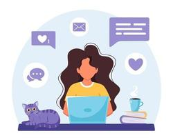 Woman working on laptop. Freelance, online studying, remote work concept. Vector illustration
