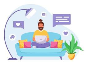 Man sitting on a sofa and working on laptop. Freelancer, home office concept. Vector illustration