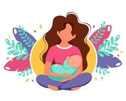 concepto de lactancia materna. mujer alimentando a un bebé con pecho sobre fondo de hojas. ilustración vectorial en estilo plano. vector