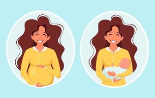 Pregnant woman. Woman with newborn. Pregnancy, motherhood concept. Vector illustration.