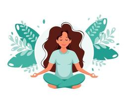 Woman meditating on leaves background. Healthy lifestyle, yoga, meditation, relax, recreation. Vector illustration.